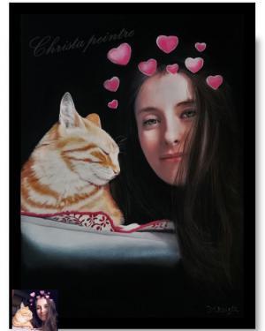 Chat et jeune fille