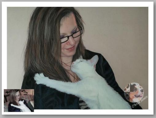 Dame et chat blanc