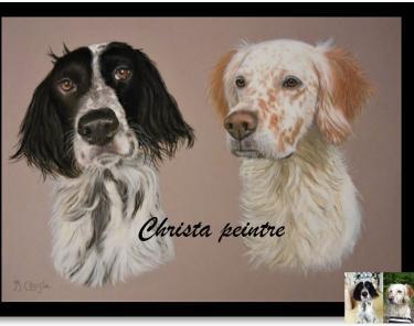 Portrait de deux chiens